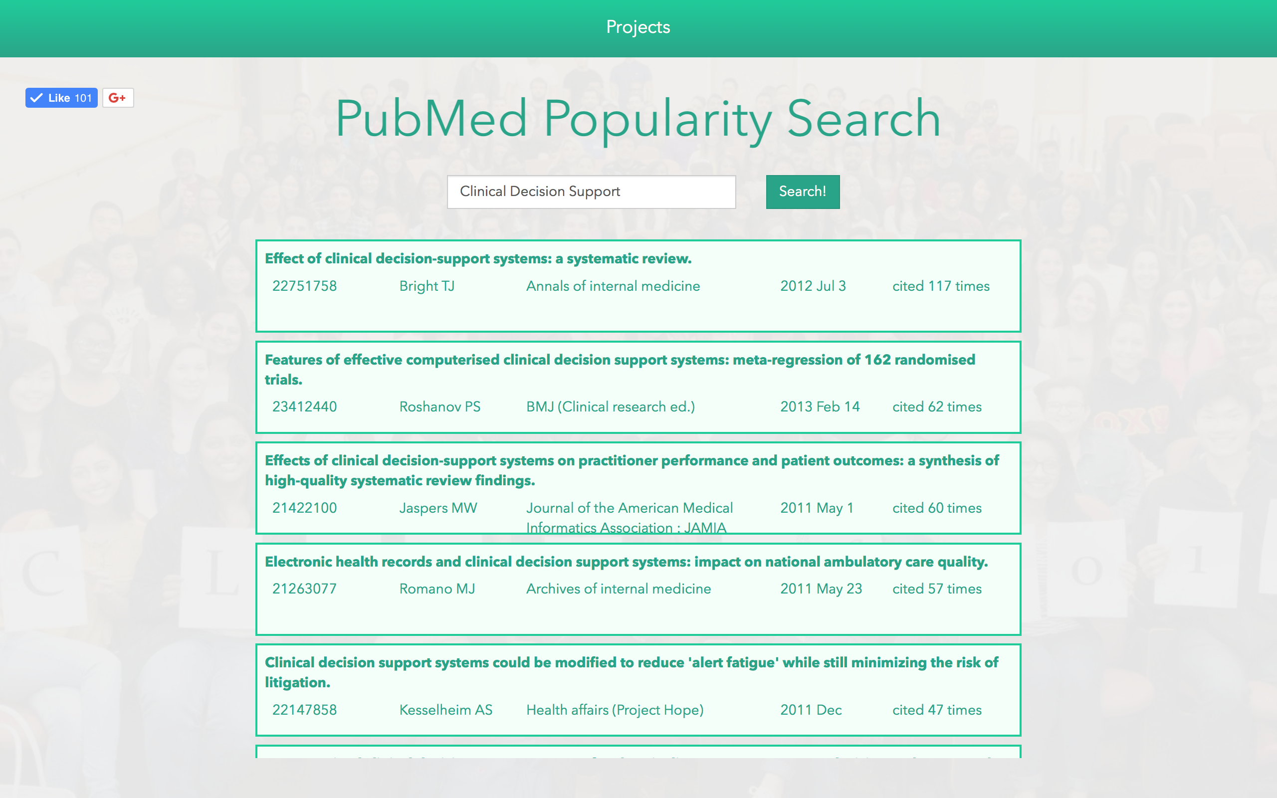 PubMed Popularity Search